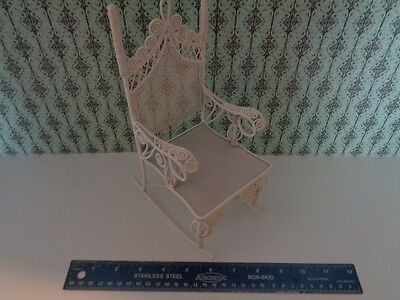 Victorian Style LARGE Rocker White Wire Dolly Rocking Chair Doll Furniture