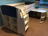 Stompa mid sleeper bed with pull out desk and storage cube