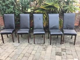 5 leather high backed chairs