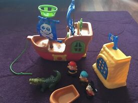 Sainsburys Pirate ship, figures, cave and boat