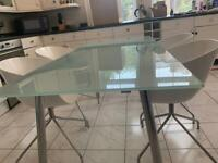 Glass table and 4 chairs ex barker and stonehosue