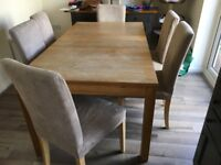 Ikea Bjursta Extentable Table with 6 Henriksdal Oak/beige/grey Chairs with a set of spare covers