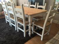 6ft Shabby Chic Chunky Farmhouse Pine Table and 8 Chairs