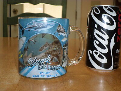 SIX FLAGS MARINE WORLD - SHARK EXPERIENCE, GLASS Coffee Cup, SEE -THRU IMAGES - Six Flags See