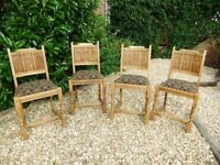 CHAIRS Solid Oak - Dining Chairs x4 - unique Gothic style carved backs