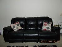 Black Leather 3 piece Recliner Suite. 3 seater sofa and 2 chairs.