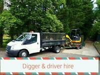 Mini digger & driver hire