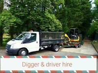Mini digger & driver hire