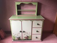 "Shelved dresser with 3 drawers and matching bookshelves with rabbit design. From ""Something Special"""