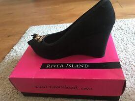 Black suede River Island Wedge heels.