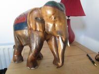 """SOLID WOODEN ELEPHANT. 13"""" HIGH. IN LOVELY CONDITION"""