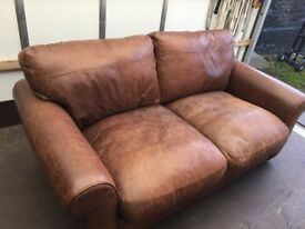 John Lewis Madison Real Leather two seater Brown sofa