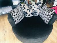 DFS Black textured Rotating LOVE SEAT / Used condition
