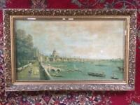 LARGE FRAMED CANALETTO PRINT IN FRAME 88 x 54cm VINTAGE LONDON THAMES SCENE 18th CENTURY ART