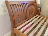 Fantastic King Size reclaimed pine sleigh bed frame
