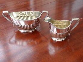 Art Deco Silver Plate Jug and Sugar Bowl - Hallmark: Thomas Bradbury & Sons