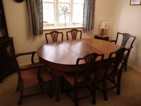 Georgian Style Oval End Dining table with 6 chairs