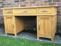 Solid oak double pedestal desk with deep drawers/cupboards (Oak Furniture Land) FREE DELIVERY
