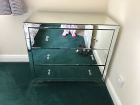 Mirrored Chest of Drawers and Two Bedside Tables