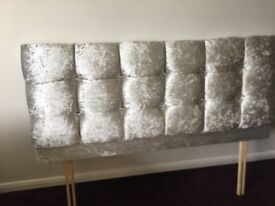 Double Crushed Velvet Headboard ( silver) with diamond