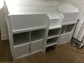 Next white used bunk bed with shelves, drawers plus mattress is added