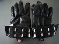 Women's Black Leather Gloves with White Trim and Buckle Detailing