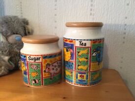 DUNOON FARMYARD SET of 2 LIDDED CANISTERS / STORAGE JARS (TEA & SUGAR)