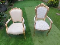 CHAIRS - FRANCE BAROQUE STYLE DINING ROYAL CHAIR WITH ARMS GOLD / BEIGS