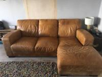 Leather chaise 3 seater sofa - less than 2 years old