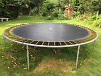 Trampoline for children's use in garden