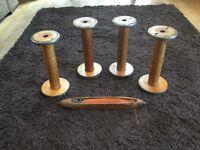 4 Large vintage weaving spools and weaving loom