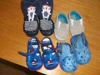 4 PAIRS BABY BOYS SANDALS,CANVAS SHOES,SLIPPER SOCKS,0-3/3-6 MONTHS