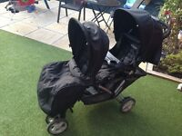 Gracco stadium duo double pushchair with graco raincover, footcover and sun umberella good condition
