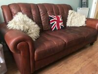 Vintage Brown Leather Sofa + Two White Leather Armchairs