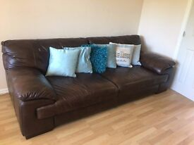 Brown Leather Sofa (4 Seater & Chair) Absolutely Immaculate
