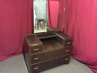VINTAGE DRESSING TABLE WITH 4 DRAWS AND MIRROR,CAN DELIVER