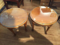 Wooden Circular Side Table , with glass top . Size Diameter 20in Height 17in.