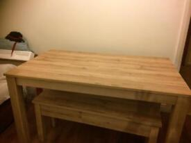 Dining table with two benches