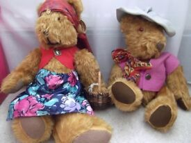 PAIR OF VINTAGE TEDDY BEARS DRESSED AS ROMANY GYPSIES