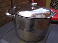 Large stainless steel cooking,soup, stock, jam pot with lid