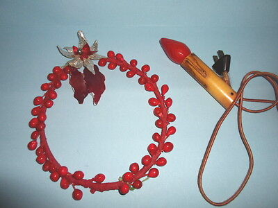 """2~1940s BERRY & POINSETTIA 7"""" WREATH & LIGHTED PAPER Christmas BULB CANDLE~RARE!"""