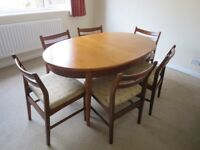 G-Plan style extending dining table and 6 chairs Vintage / retro