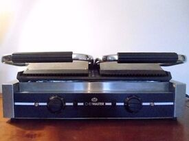 Chefmaster - Double Panini Contact Grill - Ribbed Top Flat Bottom - Industrial