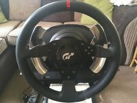 Thrustmaster T500rs (force feedback) steering wheel, pedals and stand
