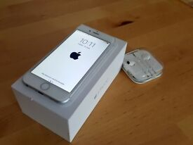 Apple iPhone 6 Silver - Unlocked - Perfect condition, box, headphones, cover