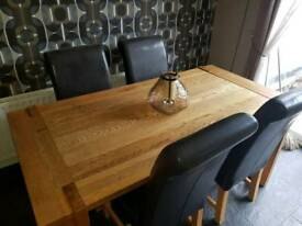6ft solid Oak dining table and 6 chairs