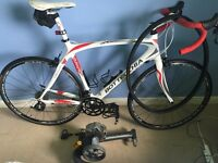 Italian road bike full carbon 24' 105 shimano both peddles serviced turbo trainer