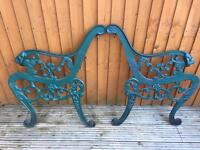 BENCH ENDS, CAST IRON, LIONS HEADS - VINTAGE VICTORIAN