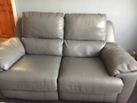 Grey two seater leather sofa