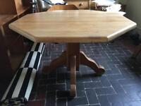 Rustic Oak Hexagonal Dining Table and 4 Sturdy Oak Chairs
